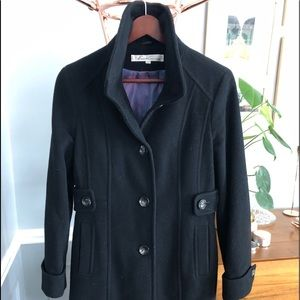 Kenneth Cole Black Wool Trench Coat Size 6